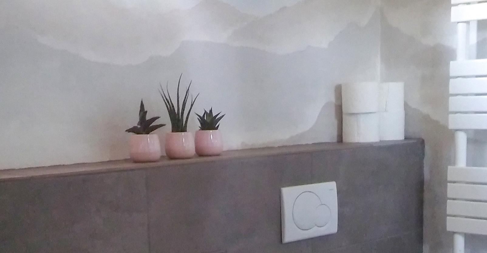 Muurschildering badkamer